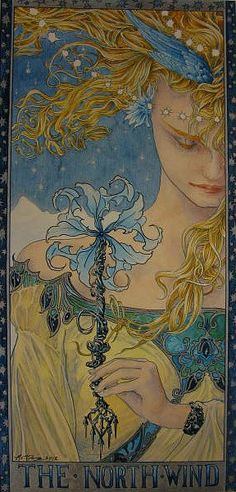 Ed Org - The North Wind - Pre-Raphaelite Art Nouveau Inspired Art Art Nouveau, Images Esthétiques, Les Religions, Pre Raphaelite, Graphic, Fantasy Art, Fairy Tales, Illustration Art, Book Illustrations