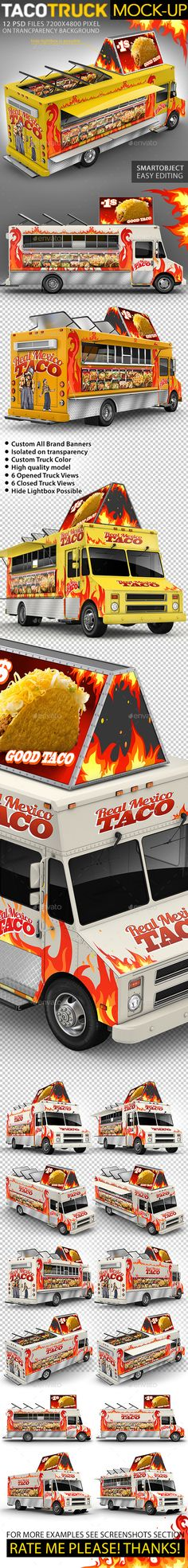 Food Truck, Taco Truck, Step Van MockUp — Photoshop PSD #mock-up #custom • Available here → https://graphicriver.net/item/food-truck-taco-truck-step-van-mockup/16203542?ref=pxcr