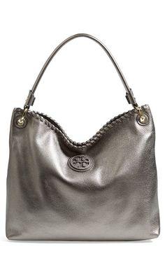 "Tory Burch ""Marion"" Leather Hobo in Gunmetal - Christmas? Handbags Michael Kors, Purses And Handbags, Tory Burch, Mk Bags, Cute Purses, Everyday Bag, Cute Bags, Beautiful Bags, Hello Beautiful"