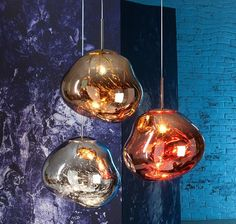 Tom Dixon collaborated with design collective FRONT to create MELT, a new distorted globe light made from blown-glass.  Translucent when on and mirror-finish when off, it emits an attractive, mildly hallucinogenic light. Hang as a standalone statement pendant or a few together to create a striking centre-piece for any room. Available in copper, chrome and gold.