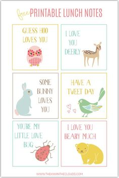 Cute animal FREE printable school lunch notes. Download your copy for the upcoming school year.
