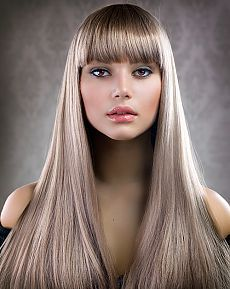 Beautiful Makeup and Healthy Hair - Stock Photo , Pony Hairstyles, Hairstyles With Bangs, Straight Hairstyles, Color Rubio, Hair Addiction, Silky Hair, Healthy Hair, Healthy Beauty, Natural Hair Styles