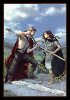 Warrior Queen Aoife in combat with Cúchulainn (Howard David Johnson). A very accurately Celtic depiction, not like some of his other paintings, which depict Boudicca in a very un-Celtic way, and Goddess Andrasta wearing a Rohan Royal Guard's armour!