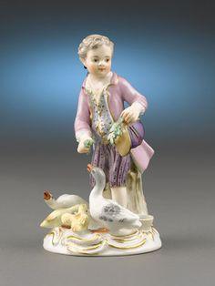Meissen Porcelain, Meissen Figures, Meissen Boy Feeding Ducks ~ M.S. Rau…