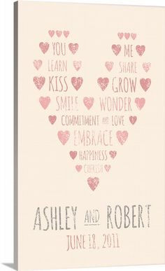 Custom word art canvas of a pink heart and romantic words with a personalized wedding date. Personalize this romantic art print with your special date or create your own custom word art at GreatBIGCanvas.com.