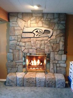 Seattle Seahawks rock fireplace...must...have...this!!!