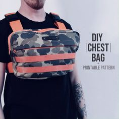 Click the link for the full chest bag tutorial! Hope you have fun making this bag! for the printable pattern! Backpack Tutorial, Diy Backpack, Backpack Pattern, Diy Bags Purses, Diy Clothes Videos, Bag Patterns To Sew, Clothing Hacks, Handmade Bags, Fashion Bags