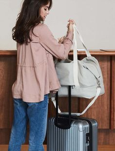The Catalina Deluxe weekender, a stylish lightweight weekender bag with back panel sleeve for travel