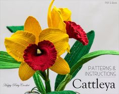 Crochet Orchid Pattern  Crochet Cattleya Orchid Pattern for