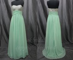 cheap prom dresses, long prom dress, formal evening dress, strapless prom dress, light green dress,RE058. $118.99, via Etsy.