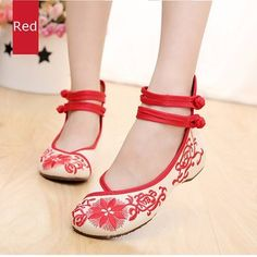 Floral Chineseknot Style National Wind Embroidered Retro Vintage Flat Shoes