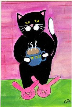 Good Morning Kitty by Christine Quimby ~ love the bunny slippers