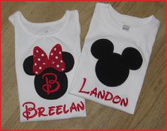 Disney Mini and Mickey Mouse Applique Shirts by SouthernBelleBows,