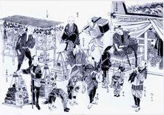 江戸の町 口上や泣いて客を惹きつけ商品を売りさばいた  - 伝承芸能 ガマの油売り口上 秘伝