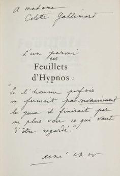 René char feuillets d'hypnos | Ventes aux enchères Paris RENÉ CHAR FEUILLETS D'HYPNOS Gallimard ...