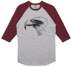 theIndie Vintage Bald Eagle (Black) 3/4-Sleeve Raglan Baseball T-Shirt