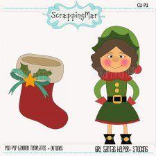 Girl Santa Helper and Stocking Layered Template #CUdigitals cudigitals.comcu commercialdigitalscrapscrapbookgraphics #digiscrap