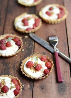 ... raspberry panna cotta tartlets ...
