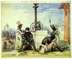 Babeiros ambulantes. DEBRET, Jean-Baptiste. Boutique de barbier. Rio de Janeiro, 1821. In: Voyage pittoresque et historique au Brésil. Paris, 1831