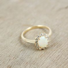 Opal Diamond Engagement Wedding Ring in 14K Yellow, White or Rose Gold, Unique Engagement Ring SKU: R2119