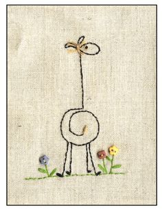 giraffe embroidery  (Love this simple pattern! Would be cute as a drawing also.)