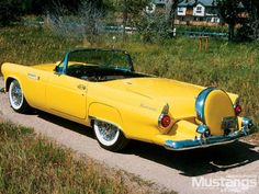 1955 Ford Thunderbird Convertible – My CMS Ford Thunderbird, Ford Motor Company, Vintage Cars, Antique Cars, Retro Cars, Vintage Stuff, Classic Car Restoration, Yellow Car, Bright Yellow