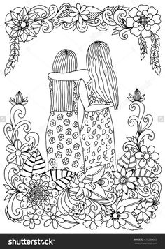 Find Vector Illustration Zentangle Girlfriend Sakura Flowers stock images in HD and millions of other royalty-free stock photos, illustrations and vectors in the Shutterstock collection. Coloring Pages For Grown Ups, Adult Coloring Book Pages, Flower Coloring Pages, Coloring Pages To Print, Free Coloring Pages, Coloring Books, Zen Colors, Bff Drawings, Illustration