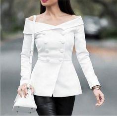 Autumn Double Beasted Buttons Slim Ladies Blazers Sexy Slash Neck Off Shoulder Blazer Elegant Suit Coat Woman