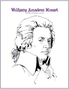 Wolfgang Amadeus Mozart   Free Composer Coloring Page Mozart For Kids, Music For Kids, Music Lesson Plans, Music Lessons, Piano Lessons, Music Worksheets, Printable Worksheets, Free Printable, Partition Piano