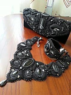 """Купить Комплект """"Гламур"""" ( клатч, колье, браслет) - чёрный, вечернее украшение…"""