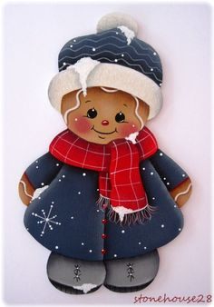 HP GINGERBREAD Snowy Ginger FRIDGE MAGNET #Handpainted