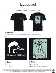 JCG Apparel : Custom Printed Apparel : Ducks Unlimited Paris T-Shirt #ducksunlimited #paris #bonjour #jcgapparel