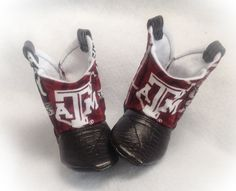 Baby Cowboy Boots, Texas A&M, CHOOSE your LEATHER color on Etsy, $25.00