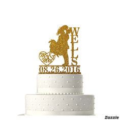 Glitter Gold Mr & Mrs. Custom Cake Topper