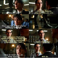 Edward and Oswald #Gotham Gothamtv. One of my favourite scene, especially because they LOVE each other in real life. :))