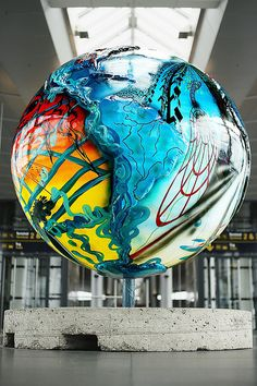 glass globe at metro station, kastrup airport, copenhagin