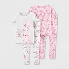 Toddler Girls' Bunny 100 Cotton Pajama Set - Just One You? made by carter's Pink Little Girl Outfits, Toddler Outfits, Kids Outfits, Toddler Girls, Baby Girls, Girls Toys, Cute Pjs, Cute Pajamas, Baby Girl Pajamas