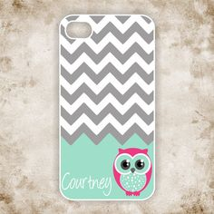 OWL iPhone 5 Case - Gray Chevron with Cute Owl and Custom Name - Monogram iPhone 5 Case, iPhone 5s IPHONE 5 on Etsy, $19.99