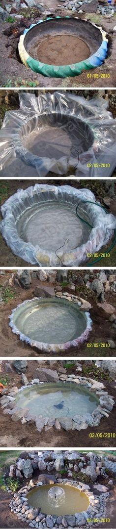 Wow, this is awesome, I have to do that someday :) Use a tractor tire to make a small pond or water hole in you garden. How cool is this. This site has a ton of stuff that can be made with tires..