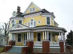 Old Houses & Historic Homes For Sale: Fixer-uppers or move-in ready, find your old house dream! Victorian Porch, Victorian Style Homes, House Deck, My House, Future House, Yellow Houses, Unusual Homes, Second Empire, House Doors