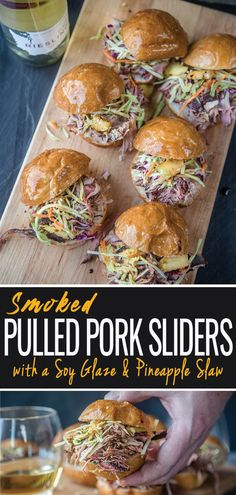 Pulled Pork Sliders with Citrus Pineapple Slaw and Balsamic Soy Sauce Sweet and savory Smoked Pulled Pork Sliders recipe has Asian-meets-Hawaiian flavors with an Asian inspired dry rub, soy glaze, and grilled pineapple coleslaw. Coleslaw For Pulled Pork, Hawaiian Pulled Pork, Pulled Pork Sliders, Smoked Pulled Pork, Pulled Pork Recipes, Beef Sliders, Pulled Pork Grill Recipe, Pineapple Coleslaw, Hawaiian Coleslaw