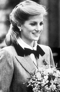 Princess Diana, Princess of Wales, in a new hairstyle and wearing an outfit described as 'A Teddy Boy Look' vists Dr. Barnado's Charity in London in November 1984, soon after the birth of her second son Prince Harry.