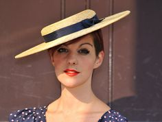 """Lux Wide Crown Classic 1950s Victoriana Pancake Brim 16"""" Real Straw"""