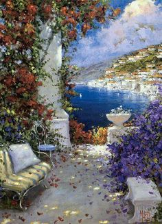 I'd love to be in this painting right now Nature Paintings, Beautiful Paintings, Beautiful Landscapes, Landscape Art, Landscape Paintings, Impressionist Artists, Cottage Art, Painting Inspiration, Painting & Drawing