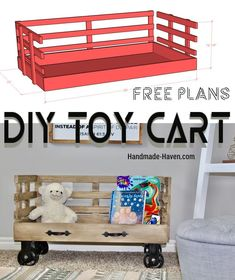 woodworking projects for kids DIY Rolling Toy Cart with an industrial restoration hardware finish Woodworking Projects For Kids, Woodworking Classes, Popular Woodworking, Woodworking Jigs, Woodworking Furniture, Furniture Plans, Kids Furniture, Wood Projects, Furniture Removal