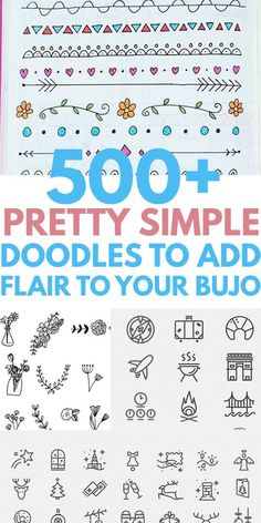 Simple easy DOODLES you will love to DIY in your notebook or bullet journal. Cute ideas from heart flower animals patterns Christmas holiday succulent plants dividers borders and more. Cool drawings that any artist can copy. Cute Easy Doodles, Cute Doodle Art, Doodle Art Designs, Easy Doodles To Draw, Happy Doodles, Notebook Doodles, Bujo Doodles, Doodle Art Journals, Doodling Journal