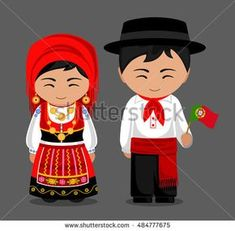Imagens, fotos stock e vetores similares de Portuguese in national dress with a flag. Man and woman in traditional costume. Travel to Portugal. Around The World Theme, Costumes Around The World, Portuguese Tattoo, Portuguese Culture, Portuguese Food, Portugal Travel, Portugal Flag, Porto Portugal, Thinking Day