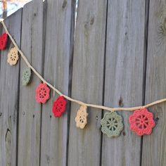 Garland Bunting Crochet Tropical Blossoms Rustic