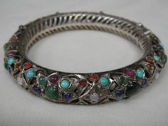 Vintage H M Indo Persian Sterling Bangle w Genuine Gemstones | eBay