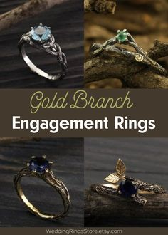 Gold braided branch engagement rings by WeddingRingsStore. White and Yellow Wedding bands with stones - Citrine, Diamond, Emerald, Ruby, Sapphire, Topaz, Amethyst, Garnet, Peridot or Cubic Zirconia of different color. Vintage style wedding rings in white and yellow gold 14K. Tree engagement and wedding gemstones rings for mens and womens #weddingring #goldring #bohowedding #goldjewelry